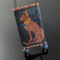 Bead loomed pendant Bastet by CatsWire