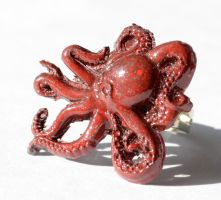 Spotted Red Black Octopus Ring by AknieGirl