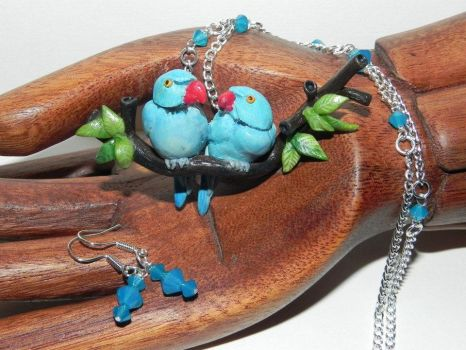 Blue Indian Ringneck Parakeet Lovebirds Couple S by Secretvixen