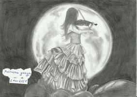 Violinist Girl pencil On A4 by Mustapha-yahya