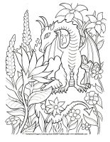 Flower Dragon Coloring Page by TabLynn