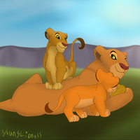 Zuma and cubs by YoungLioness