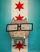 Chicago Hipster Owl by CatherineSatrun
