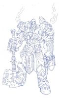 WoW paladin lineart WIP by moorkasaur