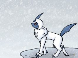 Absol in a blizzard by min-mew