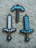 Perler Bead Mincraft Weapons by Dragonshadower