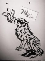 Tribal Tattoo Wolf Howl by NordLyset