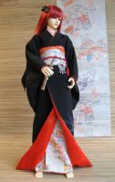 BJD Kimono, Black and Red by InarisansCrafts