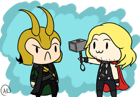Chibi Loki and Thor by TheZealotNightmare