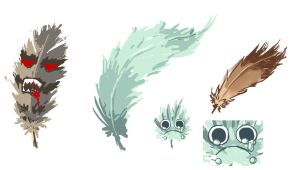 Feather sketches by Nagi-kun
