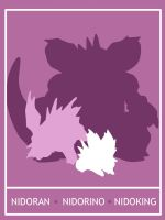 Pokemon Nidoran - Nidoking Minimalist Poster by Mr-Saxon