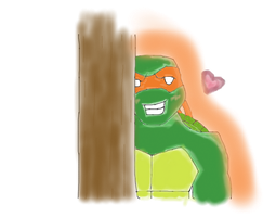 Request: Mikey Hiding Behind Tree by Cherrywind101