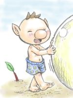 Olimar at the beach by Momogirl
