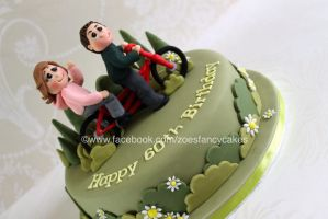 couples bike ride cake by zoesfancycakes