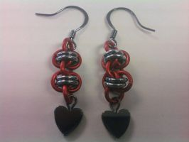Barrel Earrings Red-Black Ice by Silkyprime