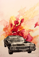 '67 Chevy Impala in charcoal and watercolor. by SurpassingSolitude