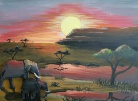 African sunset by starfishenterprise