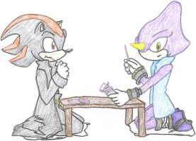 Shadow and Espio Eating Pocky by shadrougeforever