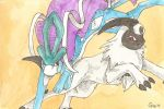 Suicune and Absol by vanillaXhermit