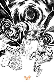 Batman Superman 30 Bw by YanickPaquette