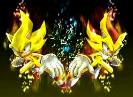 Super Sonic and Super Shadow by ka1513-2