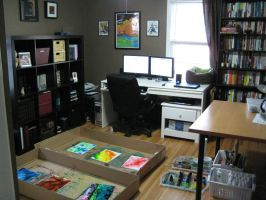 my studio while painting by julieomg