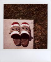 sock monkey slippers by futurowoman