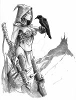 Fantasy Chick with Raven and Hell of an Axe by OFFO