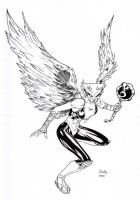 Hawkgirl inked by SpiderGuile