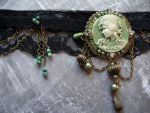 Green cameo, black lace choker by Meeshah