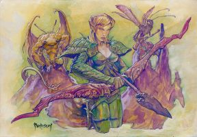 Archer and Insectoids by Dubisch