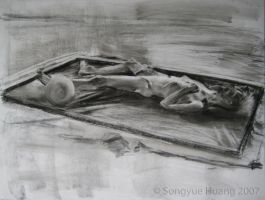 Charcoal Pastel Figure Drawing by SpiceyTofu