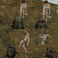 Lara Croft Bikini Facehugged (Collage 1 of 2) by 88RAven
