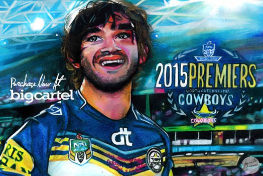 Johnathan Thurston of the Cowboys, Premiers 2015 by jacintabrowning