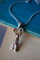 Adrien - Steampunk skeleton key pendant by Catarios