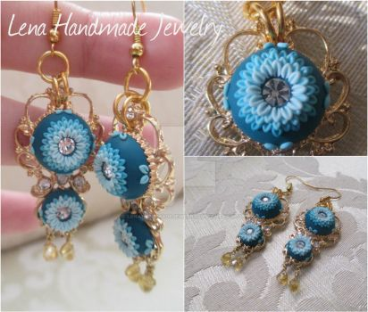 Blue flowers earrings by LenaHandmadeJewelry