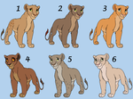 Six Lioness Adoptables - CLOSED by HydraCarina