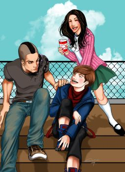 Glee Puck Kurt and Rachel by Romax25