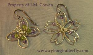 Faerie Garden Earrings by cyborgbutterfly