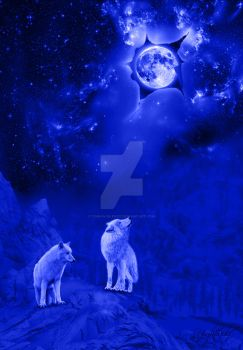 moon and wolf in blue by Tom-in-Silence