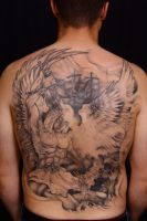 Archangel Michael Slaying Demon Within Tattoo by foxanic