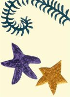 Seaweed and Starfish Collage by zinneart