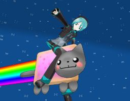 MMD: Mikuo rides on Nyan Cat by TeamVocaloid