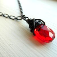 Red glass pendant by Lincey