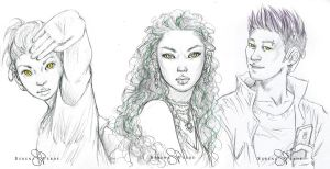 Sketch Commission - Tessen, Valess and assistant by SerenaVerdeArt