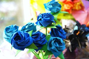 Origami Blue Roses Bouquet by lisadeng