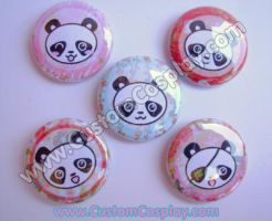 Kimono print panda buttons by The-Cute-Storm