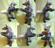 Vapor Maned Wolf Anthro Plush Toy by Jarahamee