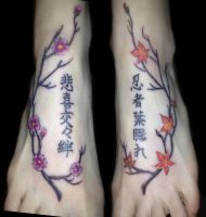 Japanese Trees and Kanji Foot Tattoo by NutmegLThompson