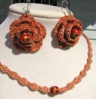 Crochet Rose Earrings and Necklace Set by doilydeas